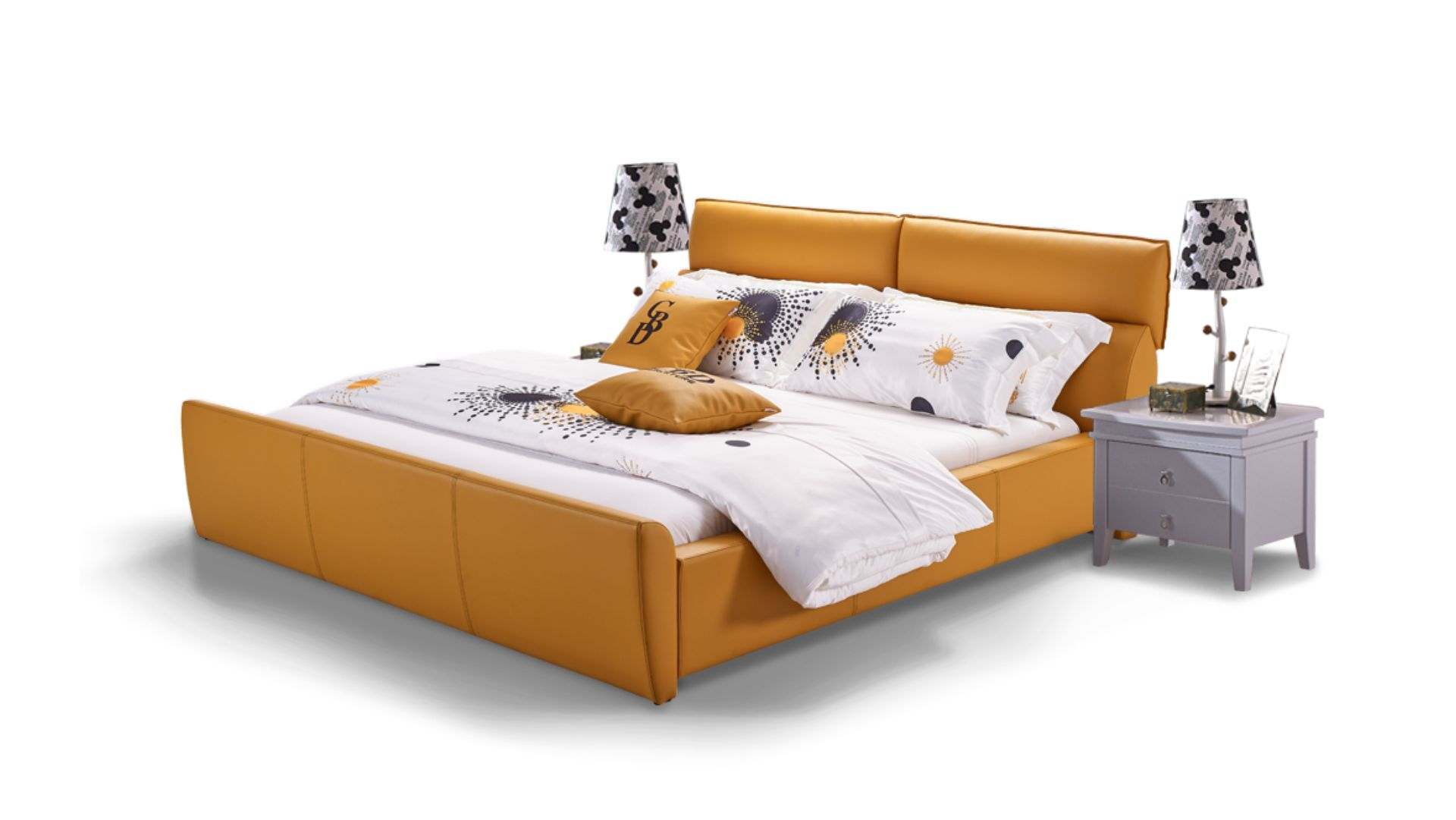 <p><strong>description:</strong></p><p>*bedframe with the 3D slats or motion</p><p>*the whole bed looks very simple and save space.</p><p>*sunset yellow which is full of passion makes the house more vibrant</p><p>*Well matched the mattress and bedding.</p><p><br/></p>